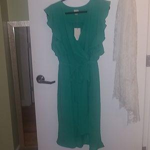 Flutter Sleeve Faux Wrap Dress